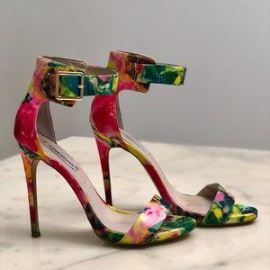 Steve Madden Multi Color Floral Fabric Stiletto